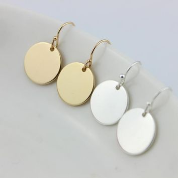 Hot New Fashion Monogram Flat Circle Blank Drop Earrings