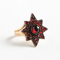 Antique Victorian 10k Yellow Gold Bohemian Garnet Star Cluster Ring - Late 1800s Size 3 Crimson Red Gemstone Vintage Fine Jewelry
