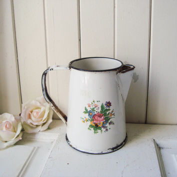 Vintage Small Metal Enamel Tea Pot with Flowers, Shabby Chic Small Metal Pitcher, Decorative Cottage White Distressed Tea Kettle, Photo Prop