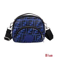 FENDI Fashionable Women Double F Letter Canvas Purse Waist Bag Shoulder Bag Crossbody Satchel Blue
