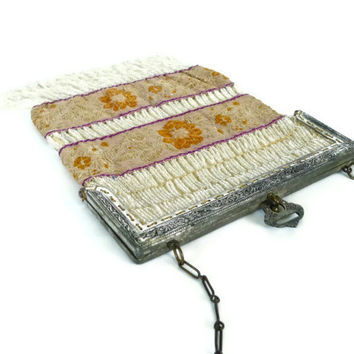 Antique Bead and Tapestry Flapper Girl Purse