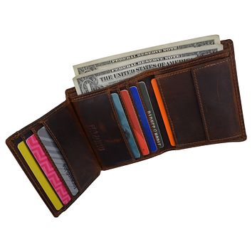 RFID Blocking Bifold Trifold Hybrid Crazy Horse Leather Mens Wallet by Cazoro