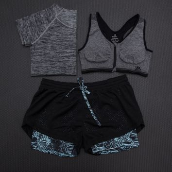 Fashion 3pcs Women's Sports Bras Yoga Fitness Racerback Vest Shorts Set 13