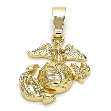 Gold Layered 5.186.023 Fancy Pendant, Anchor Design, Diamond Cutting Finish, Golden Tone