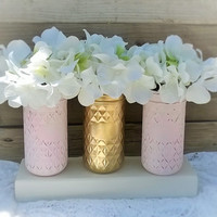 Painted Mason Jar Decor-Pink and Gold-Shabby Chic Baby Shower Decor-Gift-Shabby Chic Home- Nursery Decor-Wedding Decor-Table Centerpiece-Set