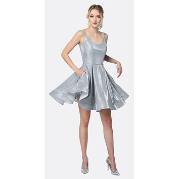 Glitter Double Straps Fit Flare Short Party Dress Silver Side Pockets