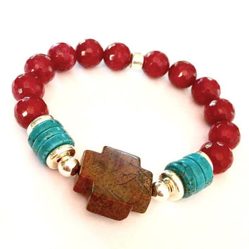 Ruby Red Jade and Jasper Boho Cross Bracelet-Stretch-Native-Bohemian