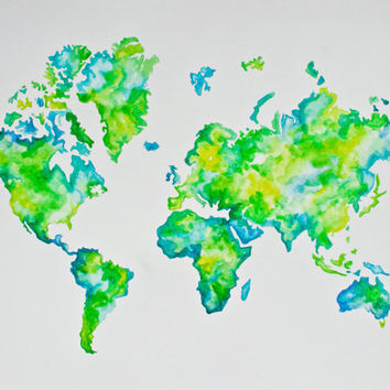 Original Watercolor Painting of a Map of the World.  Painted in beautiful greens, yellows, & turquoise. Would look great in any space