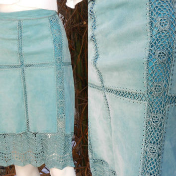 Teal Color Crochet Lace Suede Skirt, Hippie Boho Patchwork Leather Skirt, Vintage Suede Leather High Waist Skirt, Danier Leather Size 12 (L)