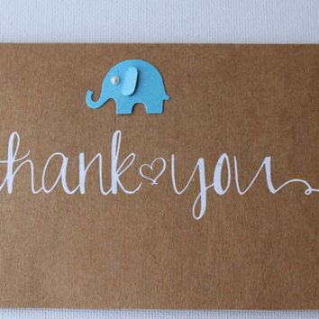 Set of 20 Kraft Thank You Cards - Baby Cards - Baby Shower Cards -  Cute Baby Cards - Baby Thank You Cards