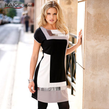 KaigeNina New Fashion Hot Sale Women Natural Simple Casual O-Neck Half Regular Sleeve Patchwork Pattern Knee-Length Dress 1179