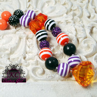 Girls Chunky Beaded Halloween Necklace Kids Boutique Jewelry purple black and orange