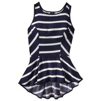 Xhilaration® Juniors Zip Back Peplum Tank - Navy Stripe
