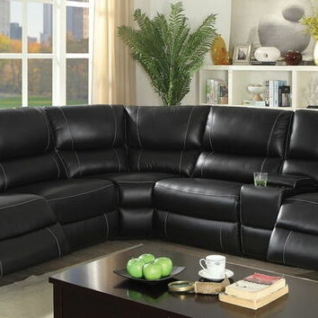 3 pc Nena collection black top grain leather match upholstered sectional sofa with recliner ends