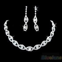 Hot Sumptuous Bridal Wedding Prom Jewelry Crystal Rhinestone Diamante Necklace & Earring Set 7FWS BDLI