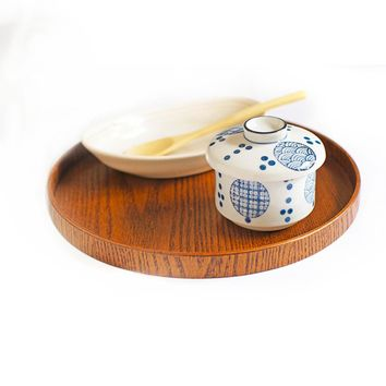 Creativive Tableware Wooden Tea Plate Hand-Made Natural Serving Tray Round Tea Set Multi-functional Storage Food 21/30CM