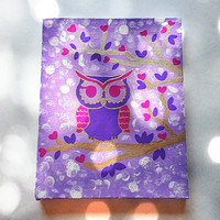 Purple owl in tree fashionable acrylic canvas painting for trendy girls room or home decor