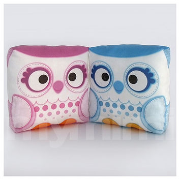 Decorative Pillow, Boy and Girl, His and Hers, Owl Pillow, Forest Owl, Woodland Animal, Cushion, Kawaii, Room Decor, Owl Decor, Toys, 7 x 7""