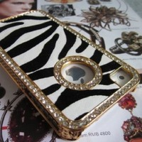 Luxury Bling Crystals Rhinestones Zebra Leather Back Hard Case Cover for Apple iPhone 4 4S