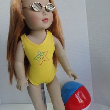 American Girl and 18 Inch Doll Clothes-Yellow Embroidered Bathing Suit includes Fun Accessories