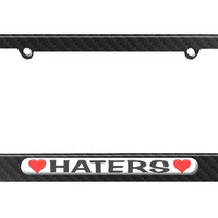 Haters Love with Hearts License Plate Tag Frame - Carbon Fiber Patterned Finish