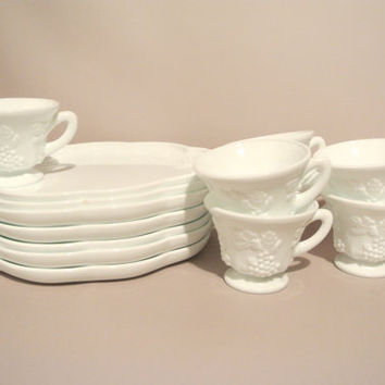 set of 7 Indiana Milk Glass - Harvest Grape Vine Pattern - Luncheon Plate & Cup