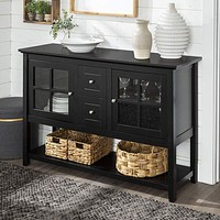 Rustic Farmhouse Wood Buffet Storage Cabinet Living Room, 52 Inch,Black by Walker Edison