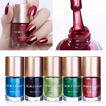 NICOLE DIARY Holographic Metallic Chameleon Nail Polish Mermaid Shell Stamping Polish Latex Liquid Tape Nail Art Lacquer Varnish