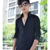 Men Spring New Style Korean Style Long Sleeve Black Knitting Sweater M/L/XL @WH0201b $19.99 only in eFexcity.com.