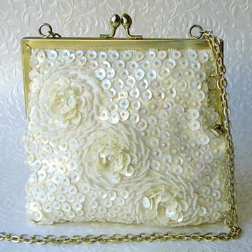 Vintage Ivory Wedding Purse Pearl Sequin Roses Bridal Handbag Seed Beaded Hand Made Hong Kong Long Gold Chain Strap Boho Chic Bride Bohemian