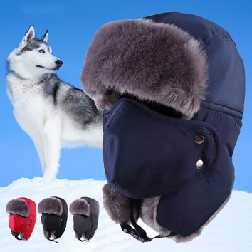 Unisex Winter Trooper Hat Hunting Hat Ushanka Ear Flap Chin Strap and Windproof Mask