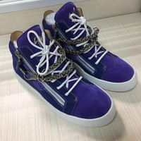 Giuseppe Zanotti Men's Suede Leather Fashion Mid Top Sneakers Shoes