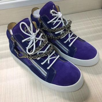 Giuseppe Zanotti Women's Suede Leather Fashion Mid Top Sneakers Shoes