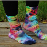Rainbow Storm Tie Dye Nike Socks by DardezLiberalFashion on Etsy