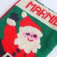 Vintage Handmade Needlepoint Christmas Stocking, Personalized for Marnie, Santa Claus, Toys Red Velvet Backing