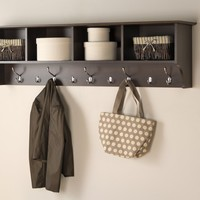 "Prepac 60"" Wide Hanging Entryway Shelf, Espresso"