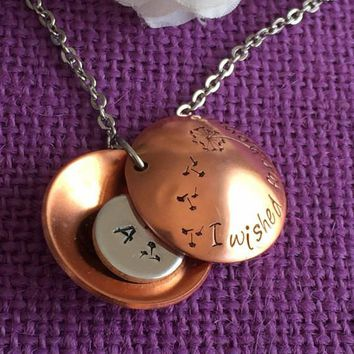 Mom Necklace - Mother's Day Gift  - Personalized - I wished for you Dandelion - Mom Necklace - Family Necklace - Hand Stamped Locket Mom