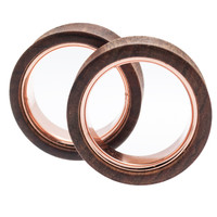 "Chechen With Rose Gold IP Plated Inlay Plugs (1 1/4"") #7644"