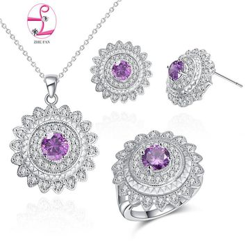 ZHE FAN Elegant Copper Jewelry Sets AAA Cubic Zirconia Round Set Necklace Earrings Ring Women Wedding Engagement Party Gift