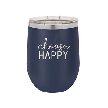 Navy Choose Happy 12oz Insulated Tumbler