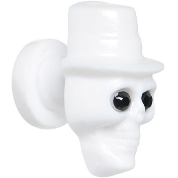 2 Gauge Acrylic CZ Eye White Gambler Top Hat Skull Screw Fit Plug