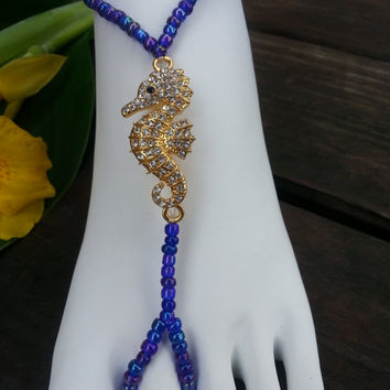 Seahorse Barefoot Sandals, Beach Weddings, Slave Anklets