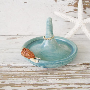 Mermaid ring holder jewelry teal blue green clay ceramic pottery sea ocean
