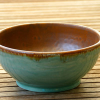 Mint Green and Rustic Autumn Spice Pottery Bowl  - Hand thrown, stoneware pottery, serving bowl, kitchen
