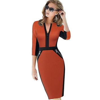 Work Wear Elegant Stretch Dress Charming Pencil Midi Spring Business Dress