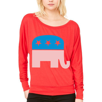 Republican Elephant WOMEN'S FLOWY LONG SLEEVE OFF SHOULDER TEE