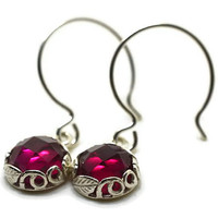 Dangly Ruby Earrings, Sterling Silver Leaf Earrings, Handmade Ruby Jewelry