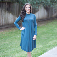 High Neck Everyday Dress | Blue | Dress | Fall 816
