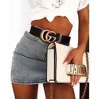 VONE05 GUCCI Woman Men Fashion Smooth Buckle Leather Belt & J'a Dior Tote Handbag Shoulder Bag Wristlet