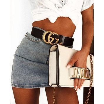 ONETOW GUCCI Woman Men Fashion Smooth Buckle Leather Belt & J'a Dior Tote Handbag Shoulder Bag Wristlet